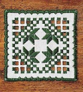 Hardanger Embroidered Coaster Craft
