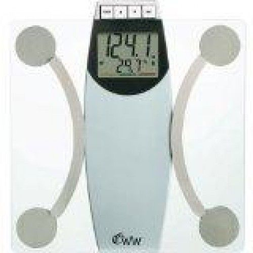 WeighbWahes Glass Body Analysis Scale  Monitors body fat, body water, BMI and bone mass. 10-user body analysis memory. Jumbo 2.4 2-line display–shows current weight and scrolls through other measurements 400-lb. capacity with resolutions. Color bar helps interpret body analysis results. Impact-resistant tempered safety glass. Long-life lithium battery