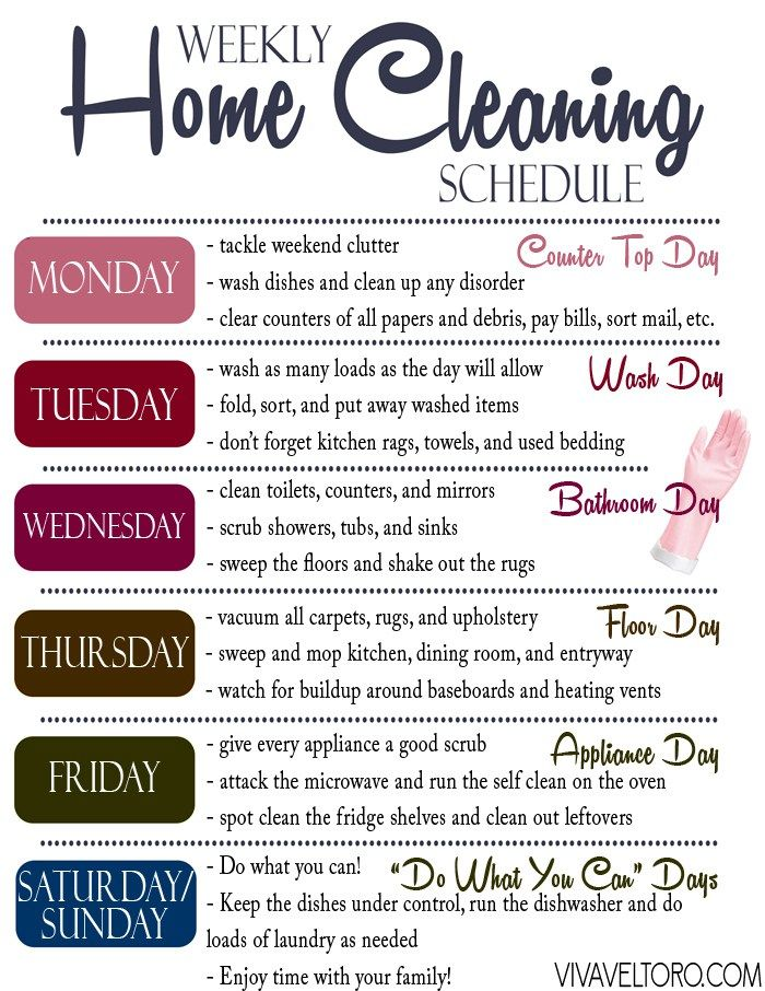 An efficient home cleaning routine in the form of a printable cleaning schedule.                                                                                                                                                                                 More
