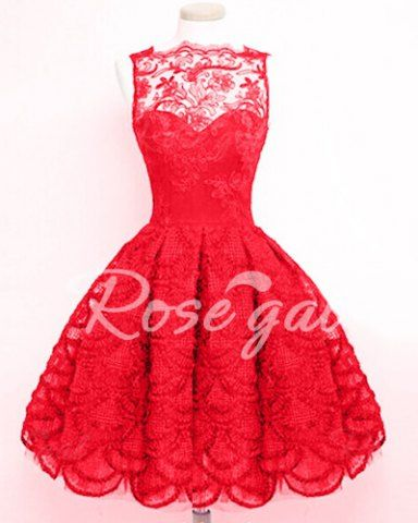 Stylish Round Neck Sleeveless Solid Color Hollow Out Lace Women's Dress