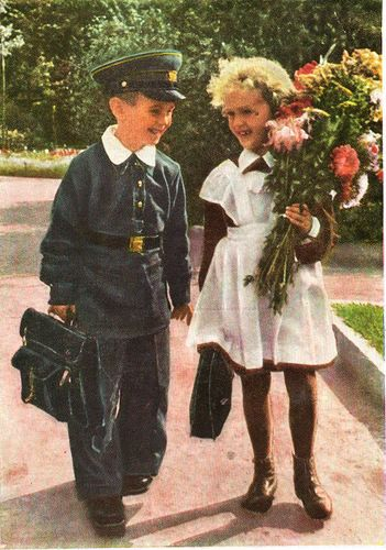 Russian school uniform, vintage postcard, 1950s. #education