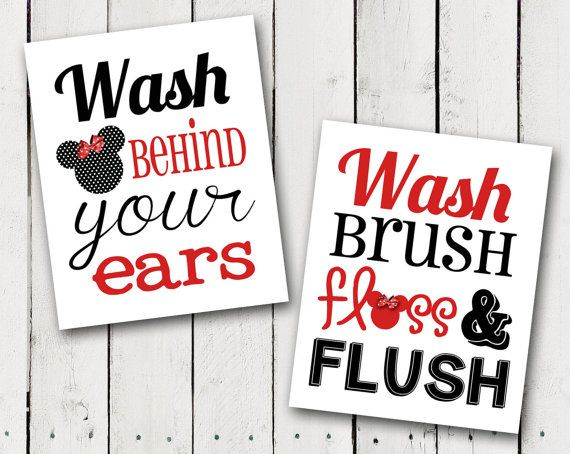 This is for 2 bathroom prints. One is Bathroom rules and one says Wash behind your ears with a Minnie Mouse touch added. It looks so cute