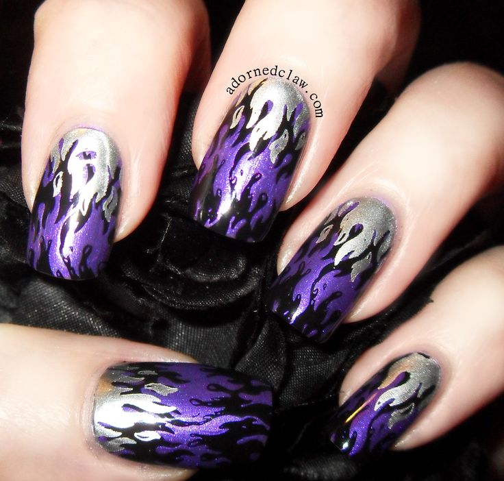 Purple Flames nail art.  Sally Hansen HD in Cyber, I'd Melt For You from China Glaze, and Konad Special polish in Black.  The stamping plate is MM27 from Messy Mansion