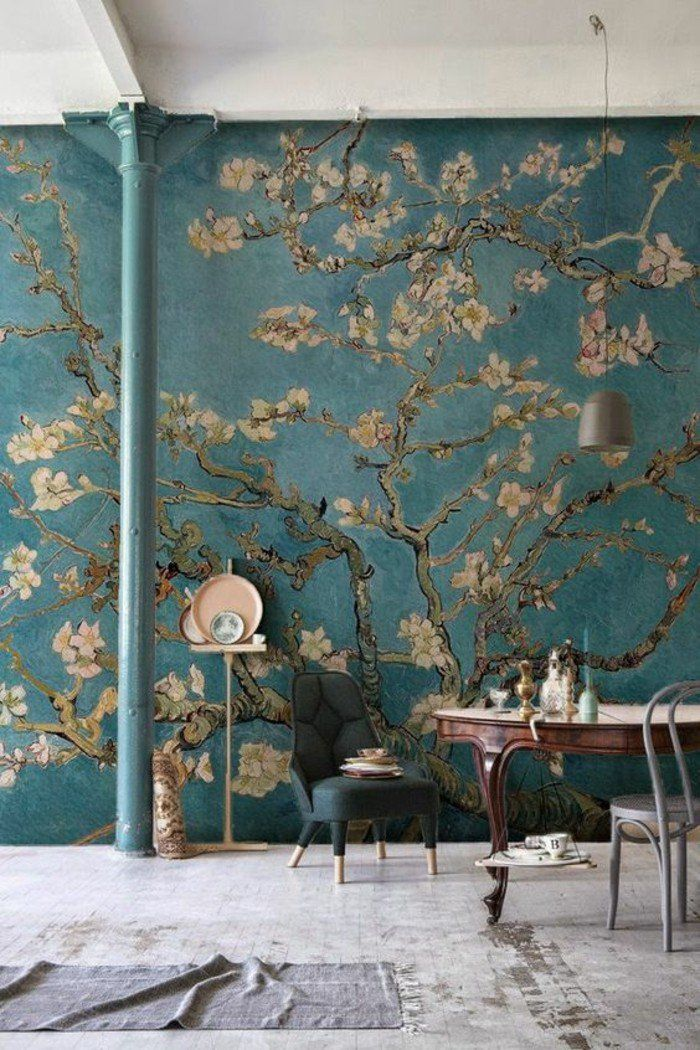 un mur artistique, tapisserie murale effet trompe-l'œil peinture