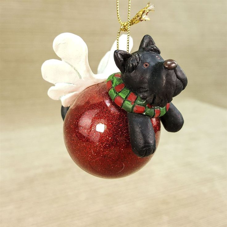 Russ Wags to Whiskers Scotty Puppy Dog Angel Red Glass Christmas Ornament #16865