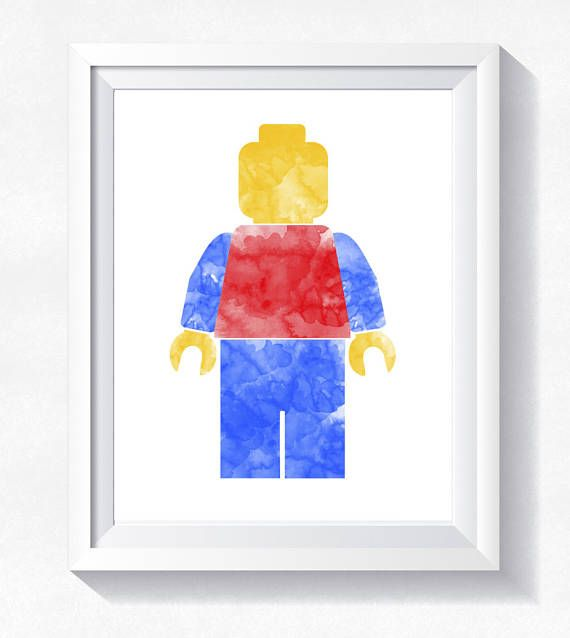 Classic Lego Minifigure print, Lego wall art, Lego watercolor, toddler wall art, nursery printable, instant download, Minifigure printable