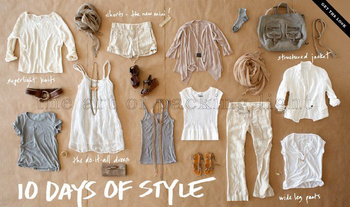Summer travel wardrobe, 10 core items. I'd have to go with more vibrant colors for my skin tone, but yep, this is about all I need for summer travel.
