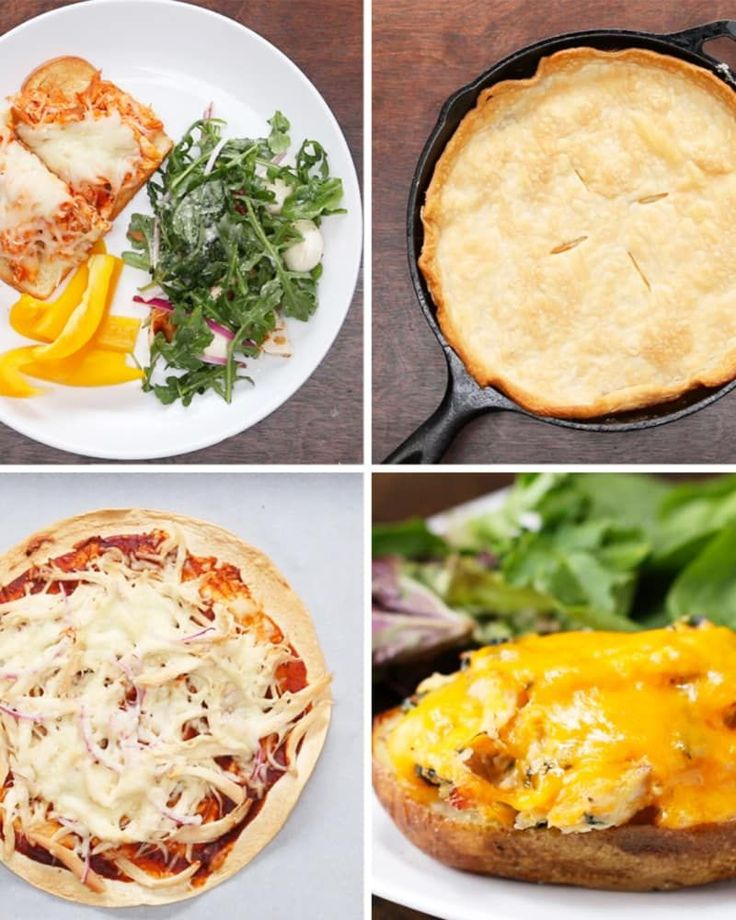 Skillet Chicken Pot PieServings: 8INGREDIENTS2½ tablespoons butter3 tablespoons flour1½ cups milk2 rotisserie chicken breasts, shredded1 cup frozen peas and carrotsSaltPepper 1 small potato, peeled and chopped½ cup cream1 premade pie crustPREPARATION1. Preheat oven to 400ºF (200ºC).2. Melt butter in a cast-iron skillet over medium-high heat. 3. Add in the flour and stir until bubbling. 4. Whisk in the milk until smooth, then add chicken, frozen peas and carrots, potato, and cream. Stir until…
