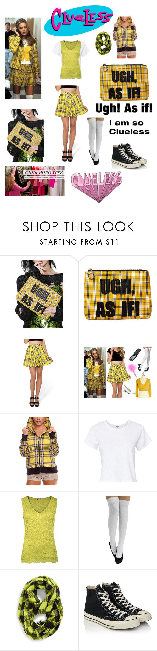 """""""Clueless Cher Horowitz 2017"""" by sarahluvv ❤ liked on Polyvore featuring Current Mood, RE/DONE, WearAll, Steve Madden, Converse, yellow, 90s, plaid, clueless and cherhorowitz"""
