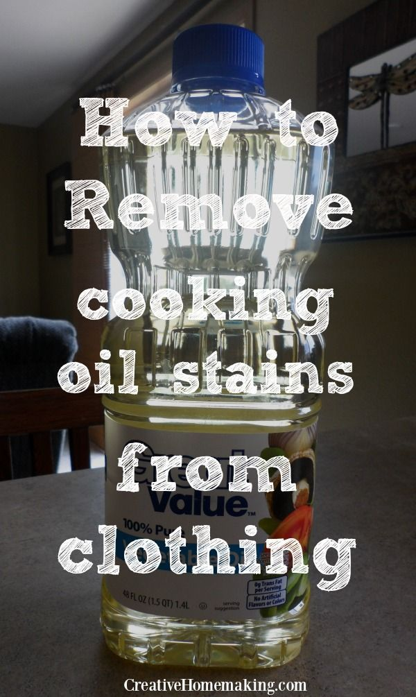 Cleaning tips for removing cooking oil stains from clothes. #cleaning #cleaningtips #creativehomemaking