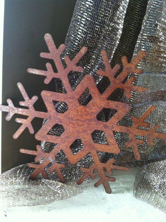 SNOWFLAKE Metal Wall Art 24 diameter Rust finish by alkemymetal, $40.00