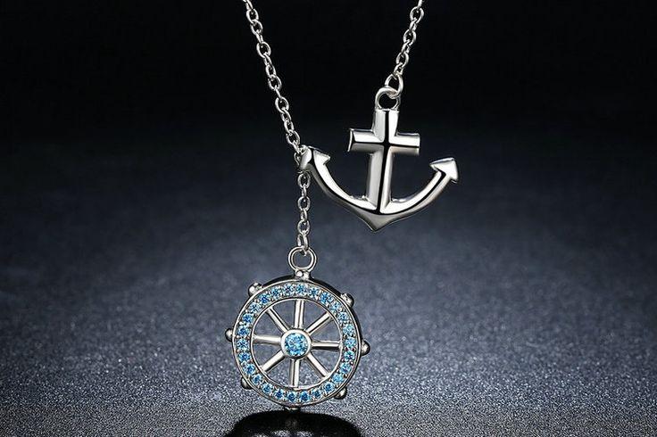 Nuovo lusso Collana con ancora e timone per navigare nel mare blu 100% argento sterling 925 Per donne con stile e charm CN049 di OceanBijoux su Etsy