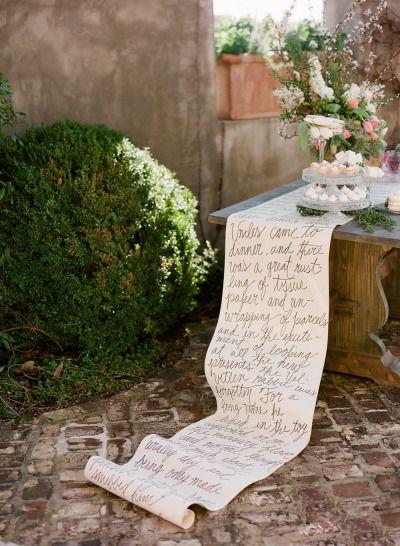Long calligraphy table runner: http://www.stylemepretty.com/living/2013/10/18/velveteen-rabbit-baby-shower-by-simply-charming-socials/   Photography: Buffy Dekmar - http://buffydekmar.com/