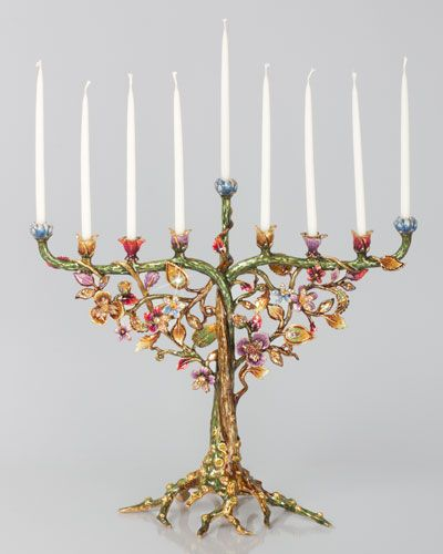 """Made of cast metal. Hand enameled and hand set with Swarovski crystals. Candles not included. 14.5""""W x 5""""D x 12.75""""T. Made in the USA."""