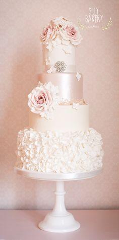 Satin, Roses and Paris Wedding Cake ~ all edible