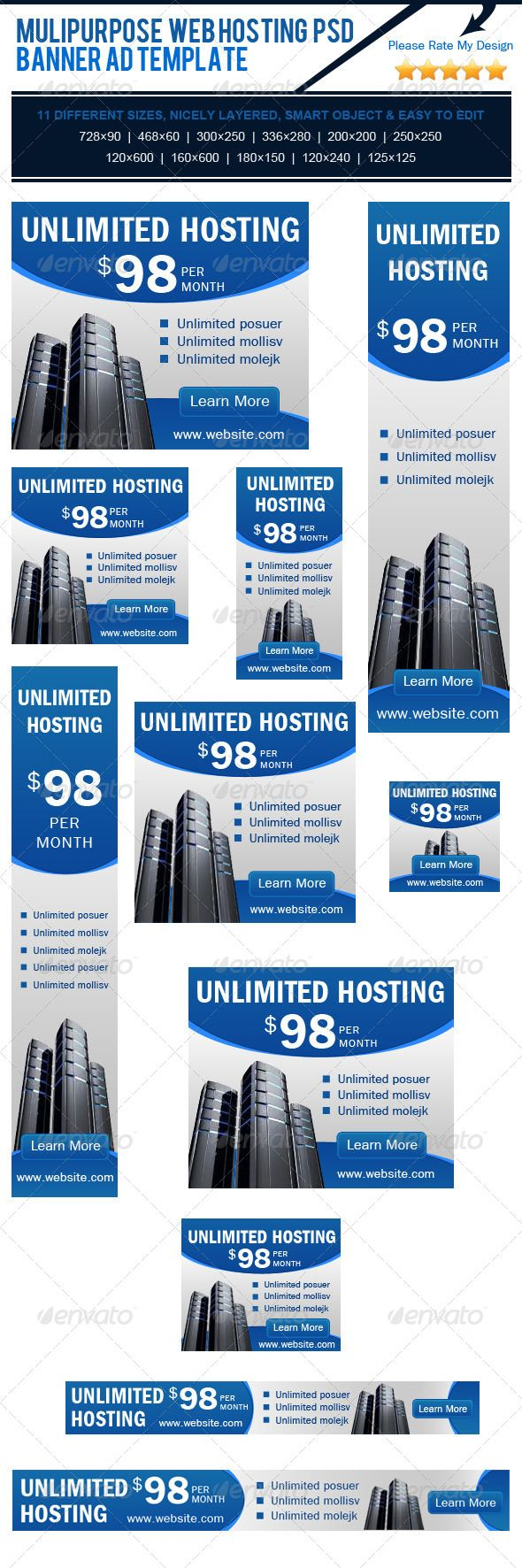 Multipurpose Web Hosting PSD Banner Ad Template - Banners & Ads Web Elements. http://www.serverpoint.com/
