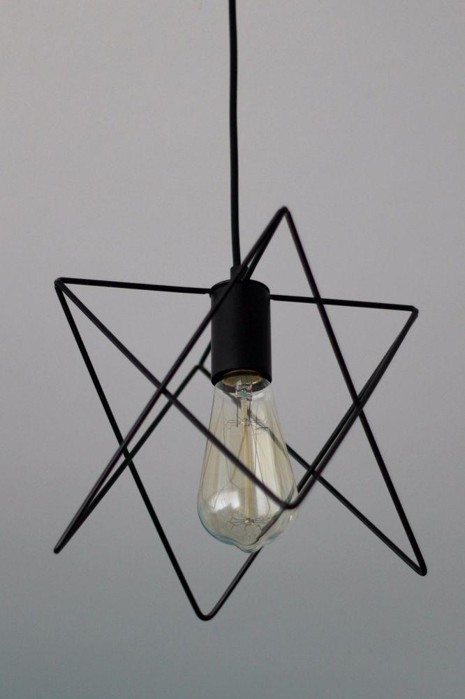 Lampe Deckenleuchte schwarz Draht Wire Skandinavisch Metall Trend Geometrisch
