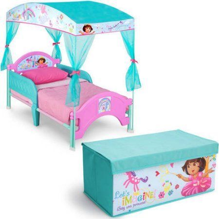 Nick Jr. Dora the Explorer Toddler Canopy Bed with Fabric Toy Box Bedroom Value Bundle, Multicolor