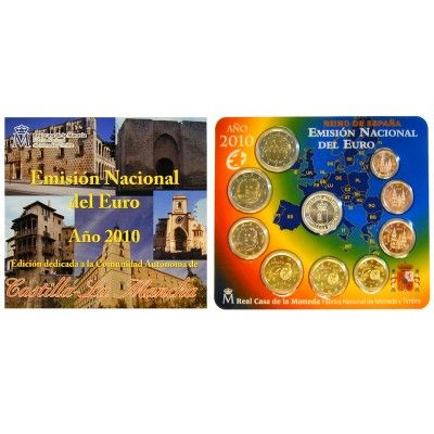 Spanien, Juan Carlos I., Euro-Kursmünzensatz 2010, st: Juan Carlos I. 1975-2014. Euro-Kursmünzensatz 2010. 9 Münzen - 1 Cent bis 2… #coins