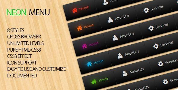 Neon Menu - Pure CSS Dropdown Navigation