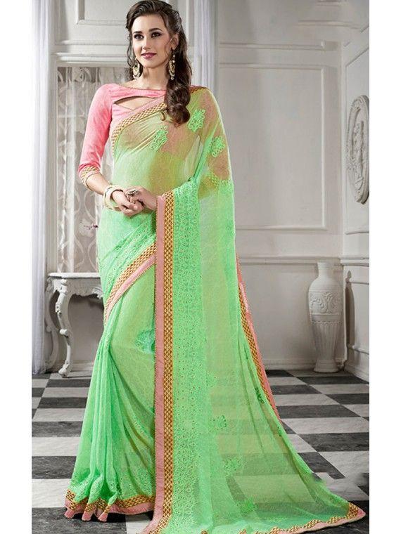 Harmonious Sea Green  and Pink online Net saree