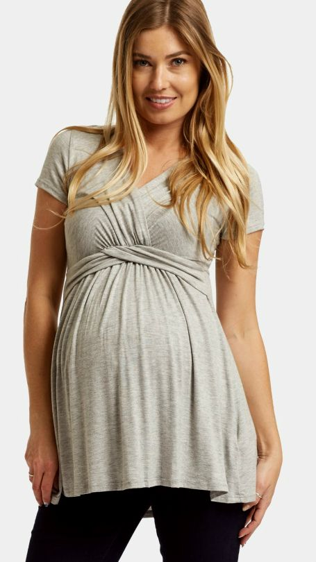 This draped front maternity top is everything we need this season. With a v-neckline to make nursing after pregnancy easy, and flattering cinching under the bust, this maternity top is the perfect piece for any transitional mom.