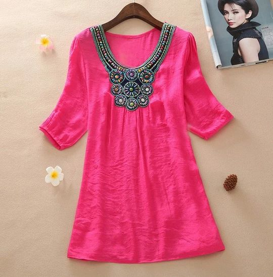 2015 Summer New Women Floral Embroidery Plus Size XXXL Loose Blouse Shirts 7 Candy Colors Chiffon Casual Shirt Tops 7