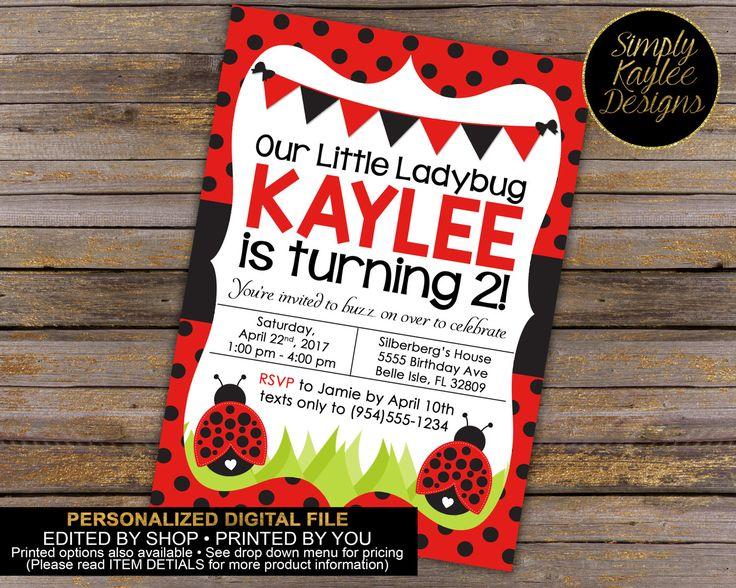 Ladybug Birthday Invitation - Ladybug Birthday Invite - Spring Birthday Invitation by SimplyKayleeDesigns on Etsy https://www.etsy.com/listing/254700987/ladybug-birthday-invitation-ladybug