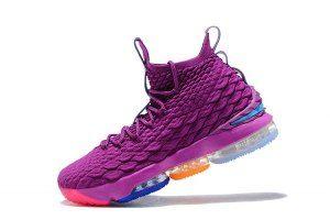 quality design da04f 3d1b1 Mens Nike LeBron XV 15 EP Confetti Purple Green Multi Color Christmas Rare  Xmas Basketball Shoes