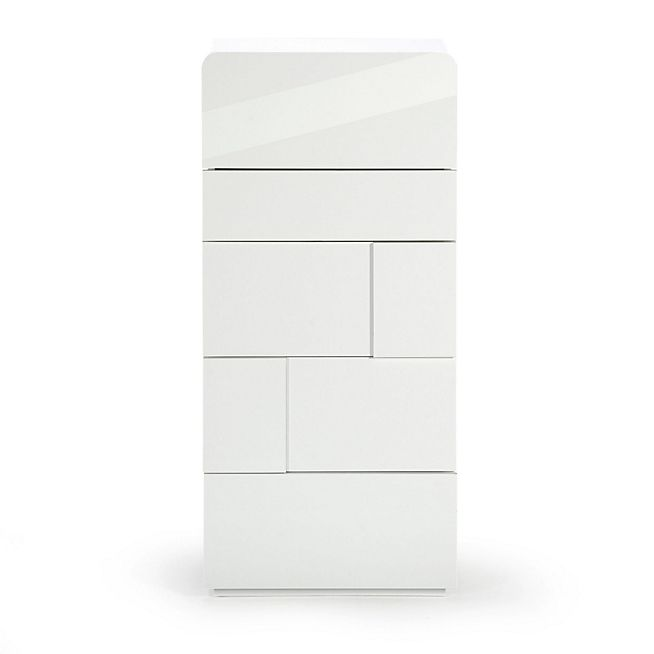 Delia Chiffonnier 5 tiroirs blanc laqué