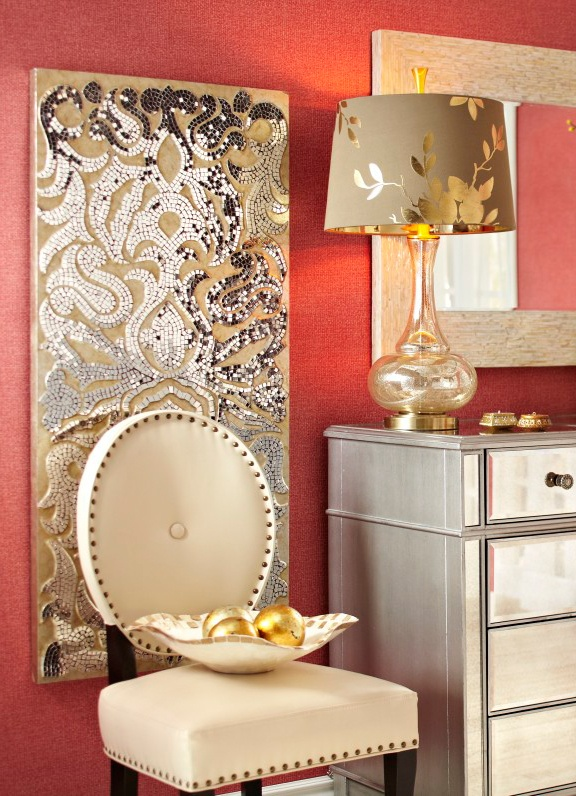 Tone down bright wall colors with neutral, yet detailed accent pieces