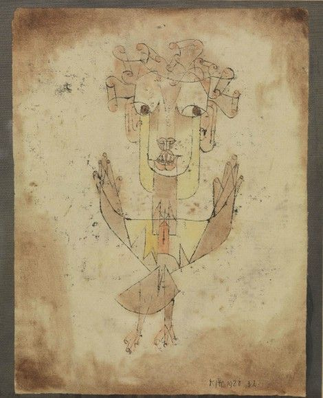 Paul Klee, Swiss, 1879 -1940 Angelus Novus, 1920 Oil transfer and watercolor on paper, 318 x 242 mm Gift of Fania and Gershom Scholem, Jerusalem, John Herring, Marlene and Paul Herring, Jo-Carole and Ronald Lauder, New York Collection The Israel Museum, Jerusalem
