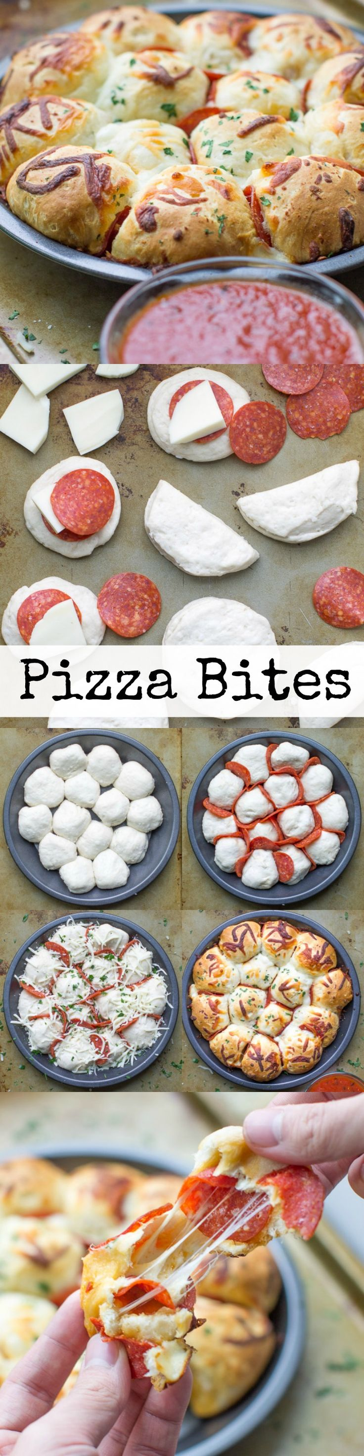 Skip the pizza delivery! Enjoy these easy, cheesy pepperoni Pizza Bites hot and fresh from the oven. You'll want to double the batch! Pinned over 11,000 times!