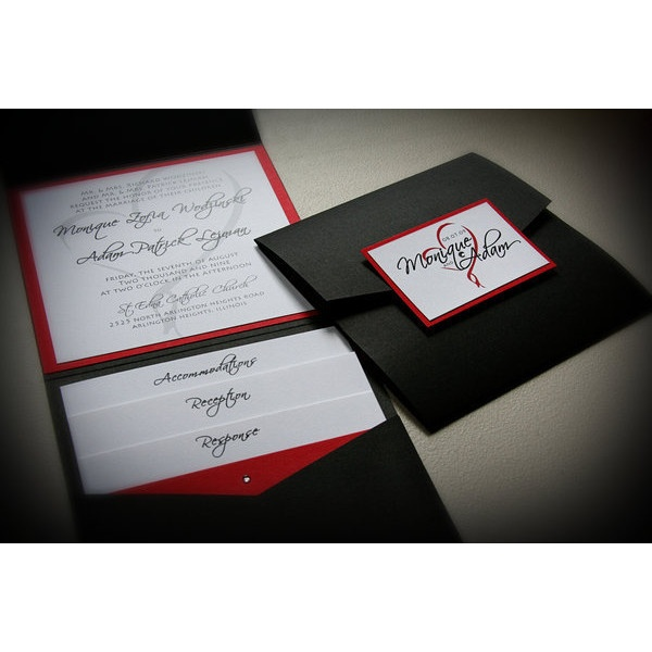 wedding white red invitations black formal just invite me