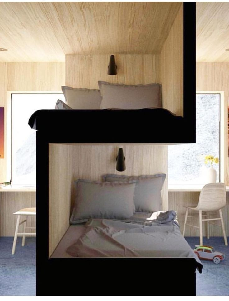 Bunk beds as a room divider, modern wall with built-in bunk beds