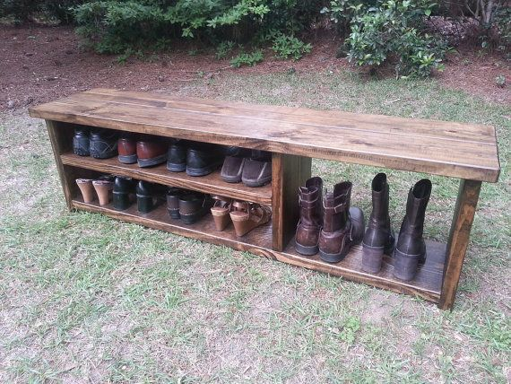 Entryway - Custom shoe storage bench - Rustic Entryway Bench Boot Bench With Shoe by CoastalOakDesigns
