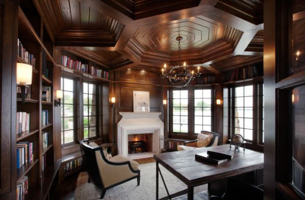 Elaborate ceiling in wood gives this traditional home office a timeless look