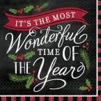 Most Wonderful Time 5 in. x 5 in. Paper Christmas Beverage Napkins (36-Count, 3-Pack)