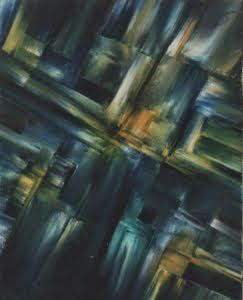 """COMPOSITION IN BLUE Original Oil Painting 16""""X20"""" by John R  Jurisich"""