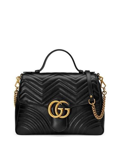 e26a1e3ffbb2 Gucci GG Marmont Medium Chevron Quilted Top-Handle Bag with Chain ...