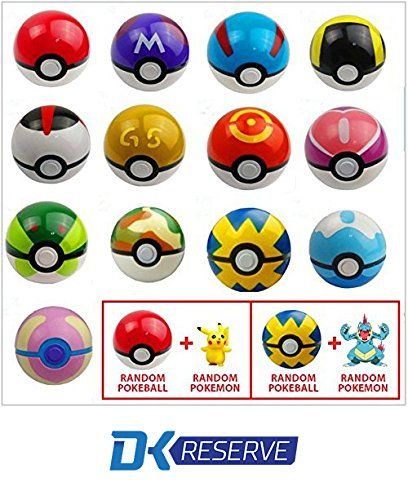 (2-Pack) Pokemon Pokeball Toys with Action Figure Inside- Real Toy Pokeballs that Open- Includes Two Pokemon Figurines & Pokeballs | DK Reserve Toys - Pokemon Ex