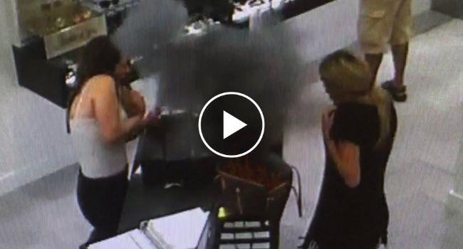 Surveillance Footage Captures A Vape Battery Exploding Inside Woman's Purse! http://www.iconicvideos.biz/surveillance-footage-captures-vape-battery-exploding-inside-womans-purse/