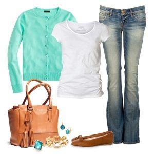 С чем носить коричневые балетки:  джинсы,  бирюзовый свитер, сумка в тон обуви