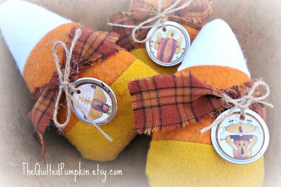Three Primitive Candy Corn Bowl Fillers by TheQuiltedPumpkin, $13.25
