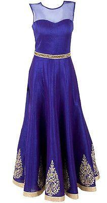 Largo Longitud Del Piso Anarkali Desgaste Diseñador Elegante Elegante Fabulosos Party Wear | eBay