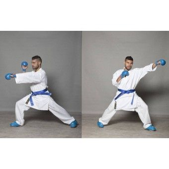 High quality Kumite Karate uniform approved by the WKF.  Lightweight, durable and comfortable Kumite Karate gi ideal for training and competitions.  The new, very lightweight polyester fabric structure has excellent wearing comfort.  - High quality HAYASHI embroidery on the shoulder - POLYMESH use under the arm - Stable shape - even after washing - 97 % Cotton / 3% Lycra  (WKF approved)