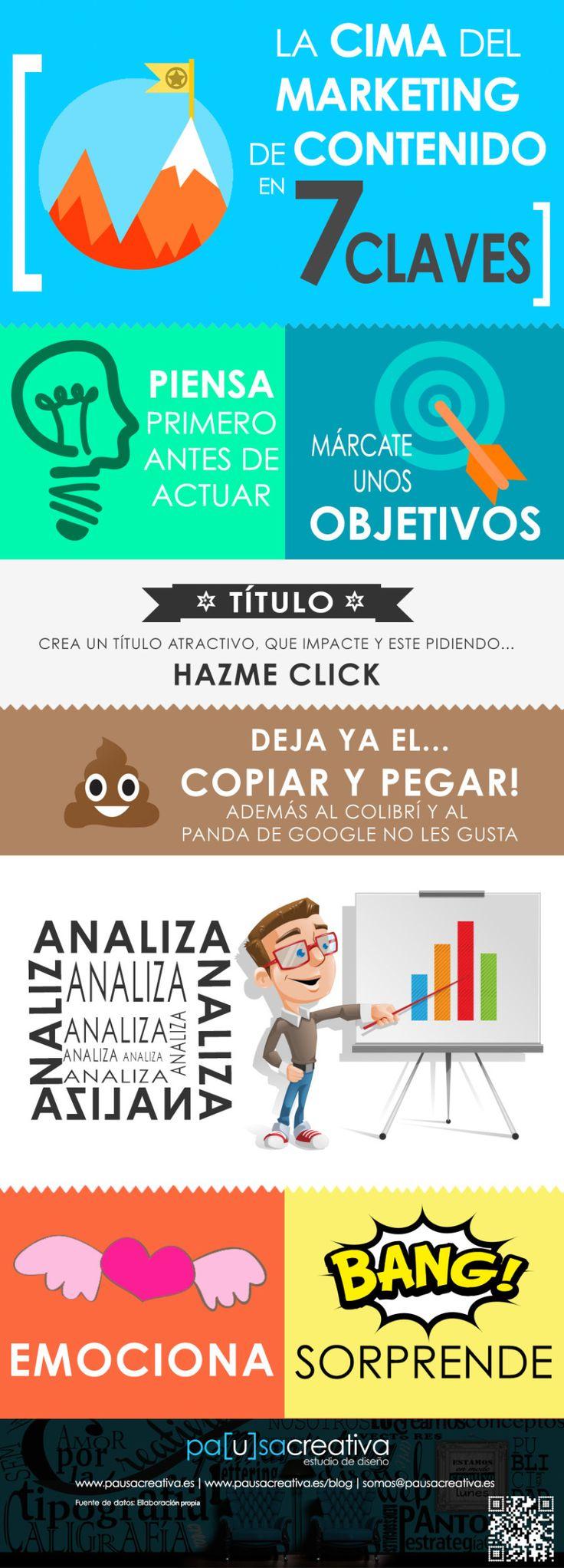 7 claves para llegar a la cima del marketing de contenido #infografia #infographic #marketing