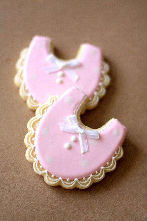 Hand Decorated Sugar Cookies Baby Shower Bibs // Baby Girl // 1 Dozen