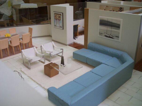 Architecture models maqueta mobiliario de la sala for Maquetas de apartamentos modernos