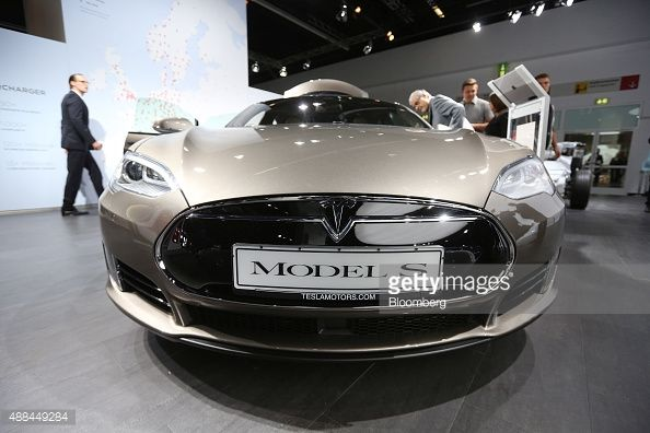 A Tesla Model S electric automobile, produced by Tesla Motors Inc., sits on display at the IAA Frankfurt Motor Show in Frankfurt, Germany, on Wednesday, Sept. 16, 2015.